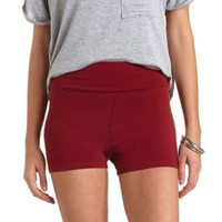 High-Waisted Bike Shorts by Charlotte Russe - Oxblood