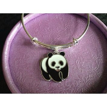Panda Bear Expandable Adjustable Bracelet Wire Bangle Gift Trendy Handmade Made in USA Kids or Adult