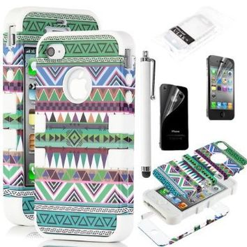 Pandamimi ULAK 3-Piece Hybrid High Impact Case Tribal White Silicone for iphone 4 4S +Screen Protector+Stylus:Amazon:Cell Phones & Accessories