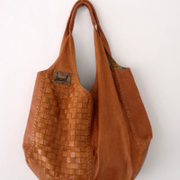 BELLA Oversize woven shoulder bag / leather tote bag by BaliELF