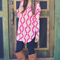 Tangled Up In Love Top: Pink/Ivory