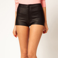 Black High Waist Elastic Mini Shorts