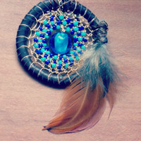 Glass Dream Catcher Brooch for Hat, Jacket, Backpack // Heady Hippie Pin