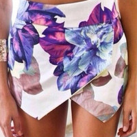 Purple Floral Wrap Mini Short Skirt