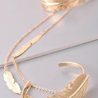 Double Layer Boho Feather Charm Gold Arm Cuff