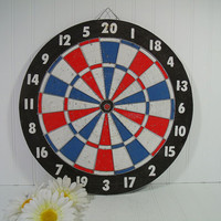Vintage Two Sided Wooden Well Used Dart Board - Retro GameRoom Equipment - Colorful Man Cave Wall Hanging Decor - BaseBall Game Score Board