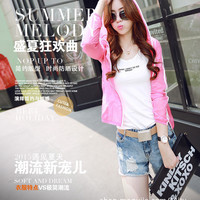 Solid Color Jacket with Hood for Sun Protection