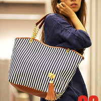 Striped Canvas Handbag Women Shoulder Bags Beach Bag Fashion Zipper Tassel Women Handbag Big Tote Bag