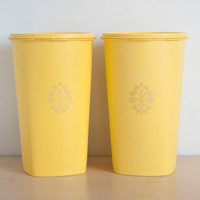 Vintage Tall Sunny Yellow Tupperware Kitchen Canisters, Pair of Tupper Ware Storage Containers