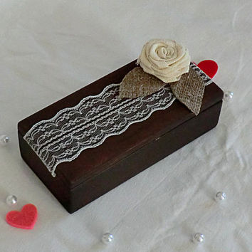 Wedding ring box Wooden Jewelry Box rustic wedding ring holder Wedding decor wedding accessory Wooden box Box for Rings Double ring box