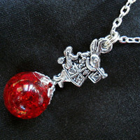 Alice White Rabbit Red Crackle Glass Marble Necklace