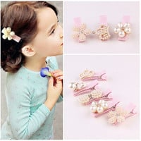 Handmade 3D Pearl Flower Bow Hair Clips Photo Prop, Birthday Crown, Party Hair Accessories
