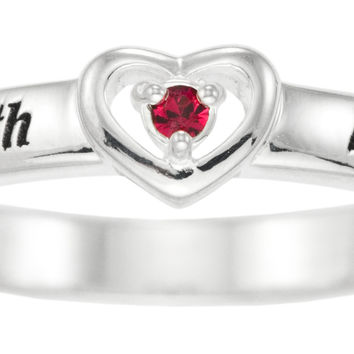 Family Personalized Birthstone Heart Ring - STERLING SILVER