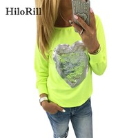 HiloRill 2018 New T-shirt Women Casual Long Sleeve TShirt Fashion Heart Print Sequin Top Femme Vogue Graphic Tees Camisas Mujer