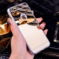 Luxury Mirror Electroplating Soft Clear TPU Cases For iphone 6,6S