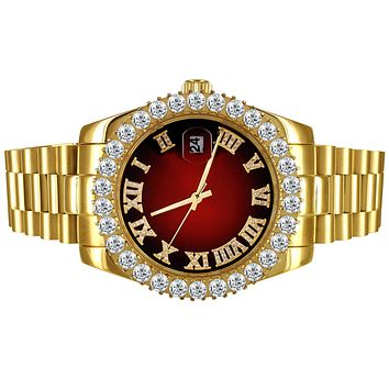 Solitaire Bezel Red Roman Dial Stainless Steel Presidential Watch