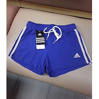 Adidas Trending Woman Stylish Logo Embroidery  Drawstring Gym Yoga Sports Running Shorts Blue I-MYJSY-BB