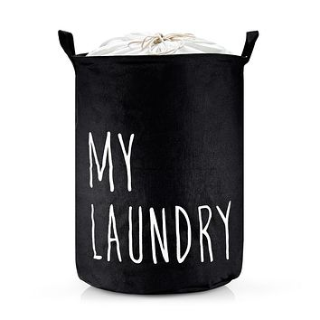 Large Laundry Basket Collapsible Canvas Washing Bin with Drawstring Dirty Clothes Bag Toys Storage
