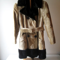 Vintage Two Tone Belted Faux Fur Coat Boho Retro Tribal Faux Fur Coat