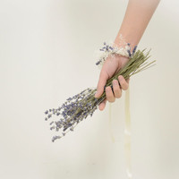 Lavender and Baby's Breath Bracelet with Natural Dried Flowers