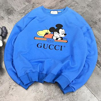 GUCCI & Mickey Mouse New fashion stripe letter print couple long sleeve top sweater Blue