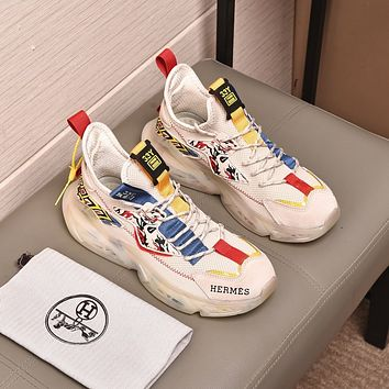 HERMES 2021 Men Fashion Boots fashionable Casual leather Breathable Sneakers Running Shoes07220cc