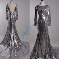 Stunning Sliver Sequined Mermaid Evening Dresses,Long Sleeves Backless Prom Dresses,Bridesmaid Dresses,Homecoming Dresses