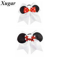 New Arrival 7'' Large Cute Printed Ribbon Cheer Bow For Ponytail Girls Cheerleading Hair Bow Lovely Hair Accessories