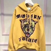 GUCCI Fashion Casual Women/Men Angry Cat Embroidered Hooded Sweatshirt yellow G