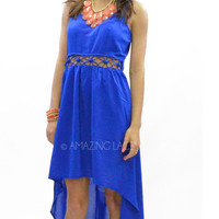 Sweet Sunset Royal Blue Open Hi Low Dress