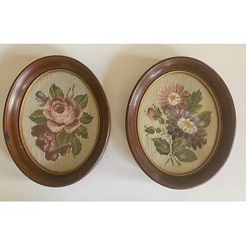 Antique Needlepoint Aster Flowers Lavender Purple Pink in Deep Oval Walnut Frame