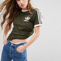 adidas Originals Khaki Three Stripe Boyfriend T-Shirt at asos.com