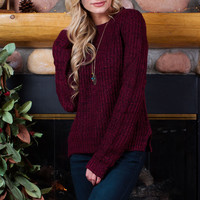 Shades of You Knit Top - Burgundy