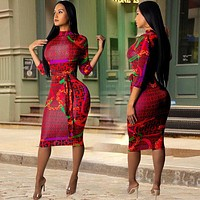Women Long Sleeve Print Dress Red