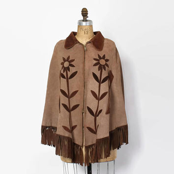 Vintage 60s Boho CAPE / 1960s 2-Tone Brown Floral Suede Leather Hippie Poncho
