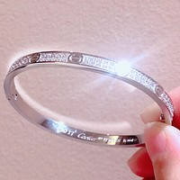 Cartier High Quality Fashion New More Diamond Women Bracelet Silver