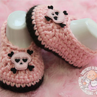 Baby Shoes - Pink - Black - Crochet Baby Booties - Baby Girl Booties - Ballet Slippers - Skull and Crossbones - Photo Prop, READY TO SHIP
