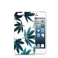 Weed Leaves Iphone 6 Plus case, Iphone 6 Plus Case Plastic Hard White Cover Skin Case (5.5'' Screen)-Quindyshop
