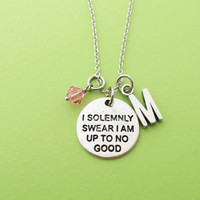 Personalized, Letter, Initial, Birthstone, I solemnly swear I am up to no good, Silver, Necklace, Custom, Alphabet, Gift, Jewelry