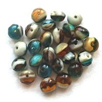 25 Czech glass puffy rondelles, 6 x 8mm transparent & opaque rustic, earthy color mix, faceted puffy rondelle beads, sale price 80101