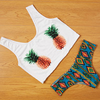 Brazilian Swimwear Bikinis Suit With Mid Waist Sexy Women Swimsuit Pineapple Printed Biquinis Bathing Suit trajes de bano Q3445