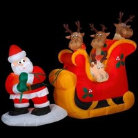 SheilaShrubs.com: Inflatable Santa Pulling A Sleigh Scene 89804 by Gemmy Industries: Christmas Outdoor Decor