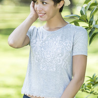 Short Sleeve Tee with Embroidery