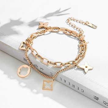 Clover bracelet,Double titanium steel pair bracelet,Anti - allergy titanium steel rose gold bracelet