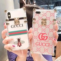 GUCCI Fashion New Bee Stripe More Letter Print Transparent Couple Personality Protective Cover Phone Case