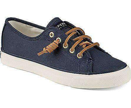 Image of Women's Seacoast Canvas Sneaker in Navy by Sperry