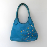 Vintage Modapelle studded blue leather boho flower handbag