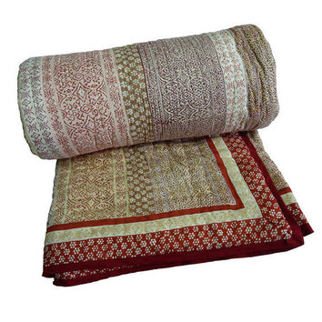 Queen size indian quilt bedding Kalamkari block print