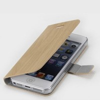 MagicPieces Wooden Printing PU Leather Wallet Type Magnet Design Flip Case Cover for iPhone 5 Light Yellow