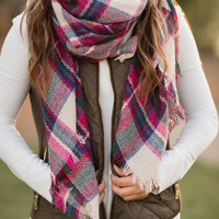 Cute & Cozy Plaid Scarf-Fuchsia